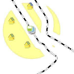 (2)のデータの領域内に存在する物件のみを検索