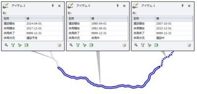 図2:時間とともに状態が変わるものをGISで表す場合のデータ例(2012/7現在)