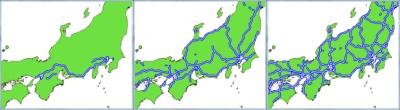 図3:高速道路の供用状況(左から1970年、1990年、2010年)