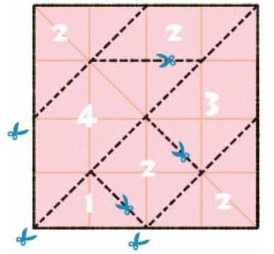 折り紙を切り分けて「清少納言知恵の板」を作る