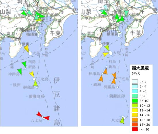 図5. 2019/5/1 と 5/2 東京の風速と風向
