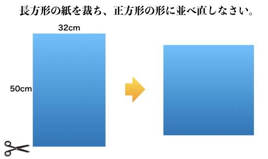 『改算記』横32cm縦50cmの紙を裁って正方形にせよ