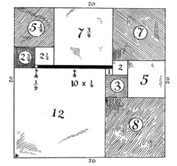 """『カンタベリー・パズル』の""""イザベル夫人の小箱""""(1902年) 正方形の真ん中の数は一辺の長さを表します。"""