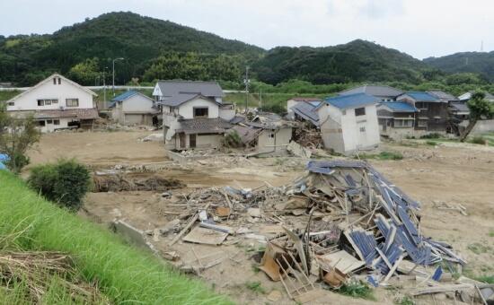 2018年西日本水害における岡山県真備町の被害